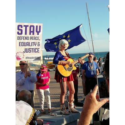 Madeleina Kay Young European of the Year sings at the rally in Brighton