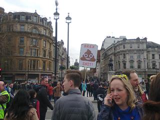 BrexShit sign using smiling poo emoji