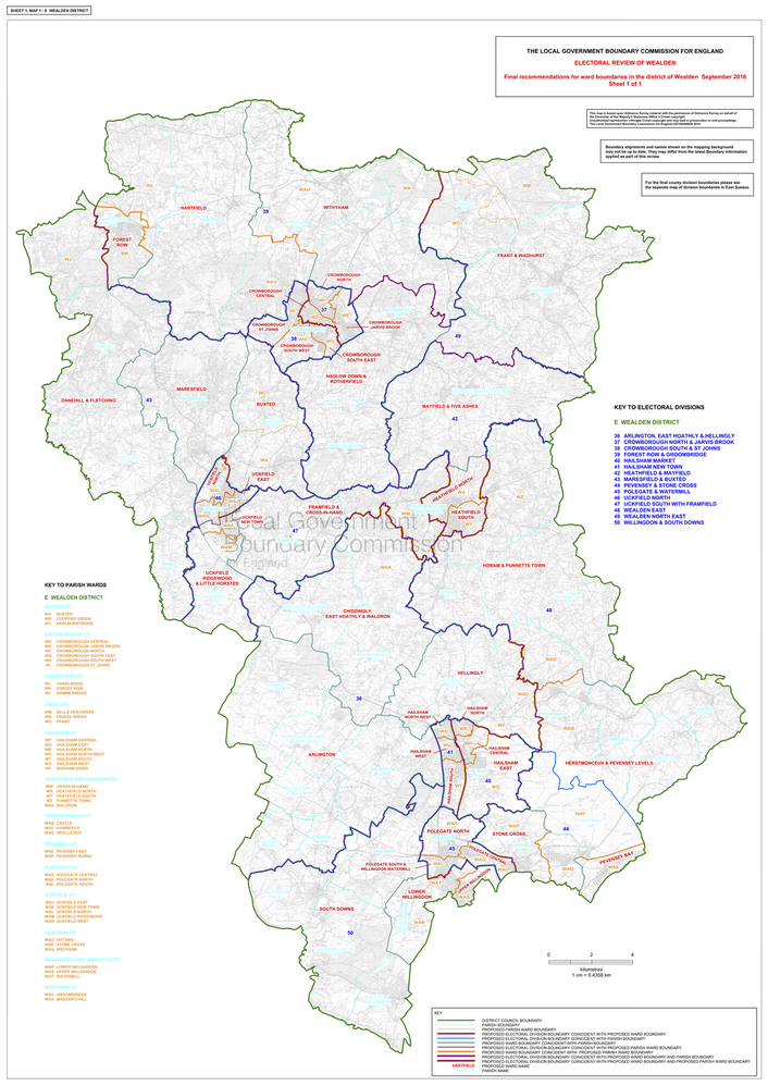 LGBCE map showing final recommendation for new Wealden district ward boundaries Sept 2016