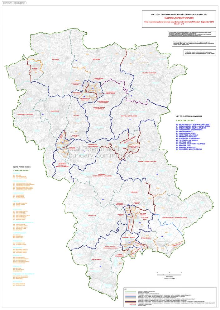 LGBCE map showing final recommendation for new Wealden district ward boundaries Sept 2016