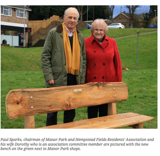 Paul and Dorothy Sparks in Manor Park in 2017 with new bench; photo & caption by Uckfield News