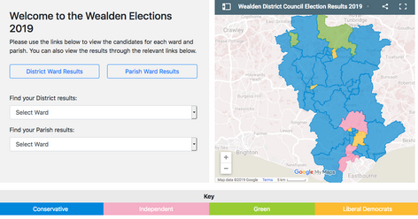 Wealden District Council Elections Results Map Overview May 3 2019