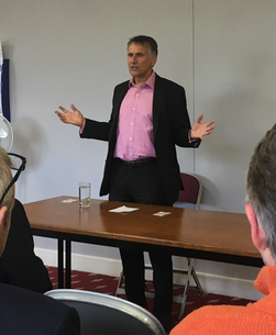 Chris Bowers speaking at a packed local members' meeting in Uckfield, Oct 5 2019
