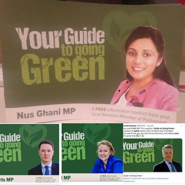 Near identicle pamphlets by Tory MPs Nus Ghani, Robert Courts, Vicky Ford & Tim Loughton
