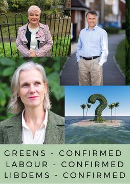 Wealden parliamentary candidates Georgia Taylor (Green), Chris Bowers (LibDem) & Angie Smith (Labour)