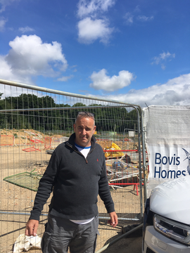 LibDem Wealden District Councillor Neil Cleaver at Cuckoo Meadow development, Hailsham, July 3, 2020 - photo by Katrina Best