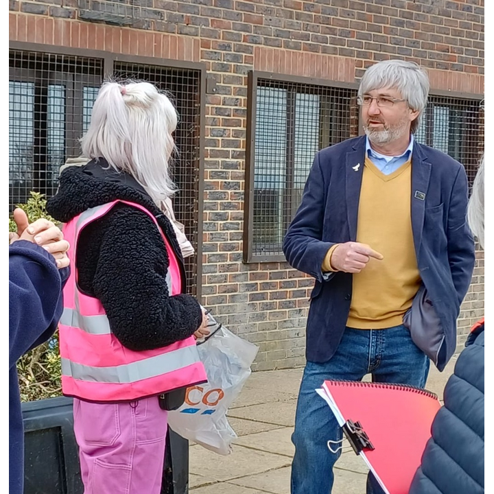 Tim Murray (right) talking with Uckfield protest organiser Den McCartney